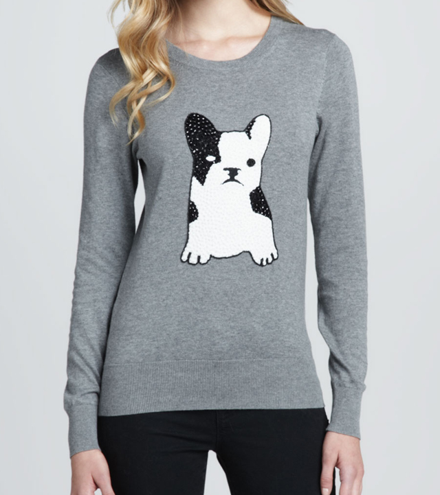 French Connection Sequined Bulldog Sweater