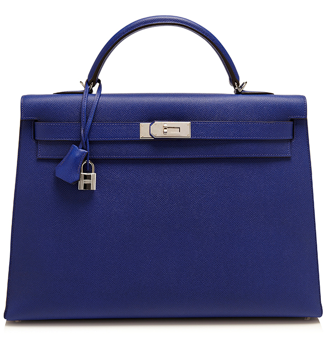 Hermes Electric Blue Epsom Leather Sellier Kelly Bag