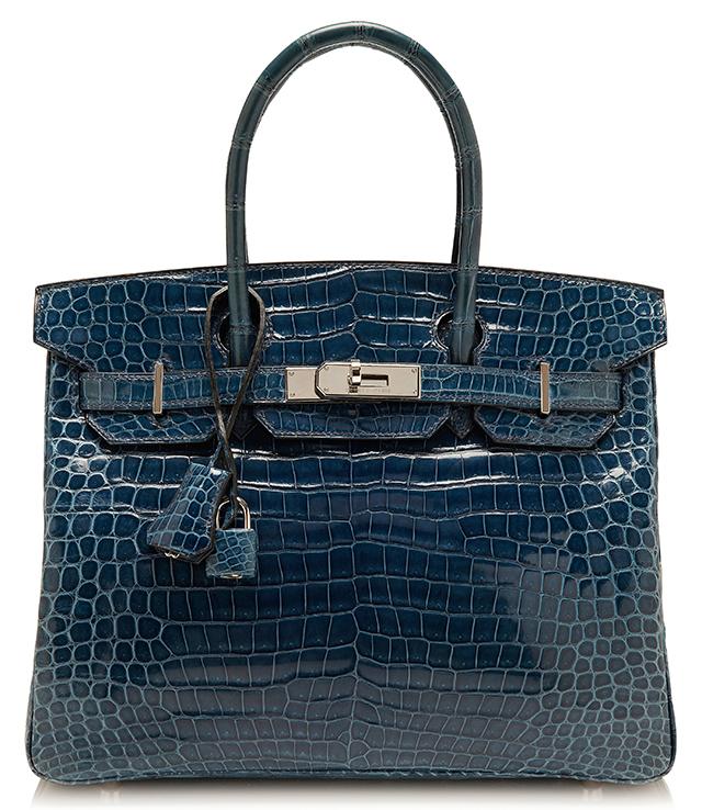 Hermes Shiny Blue Roi Porosus Crocodile Birkin Bag