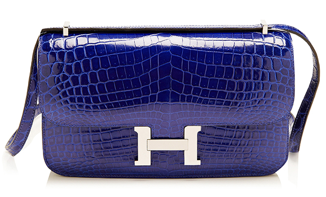 Hermes Shiny Electric Blue Nilo Crocodile Constance Elan