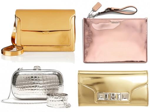 Metallic Mirror Leather Handbags