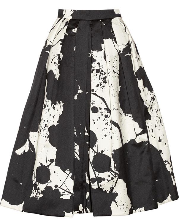 Tibi Printed Silk Gazar Skirt