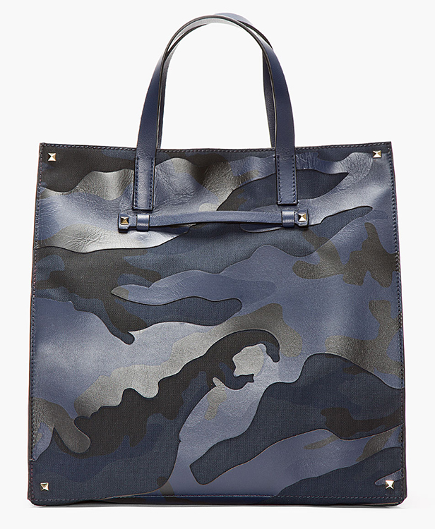 Valentino Leather Paneled Camo Tote