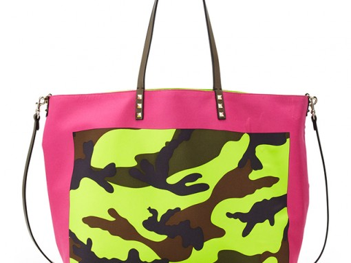 Valentino Rockstud Camo Foulard Tote Bag