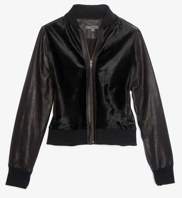Vince Calf Hair and Leather Bomber Jacket