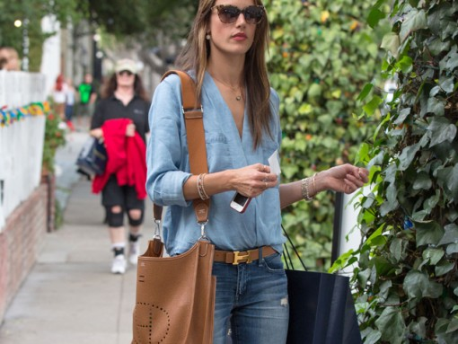 Alessandra Ambrosio carries a tan Hermes bag in LA (1)