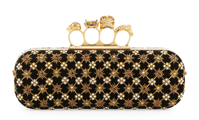 Alexander McQueen Embroidered Velvet Knuckle Duster Clutch