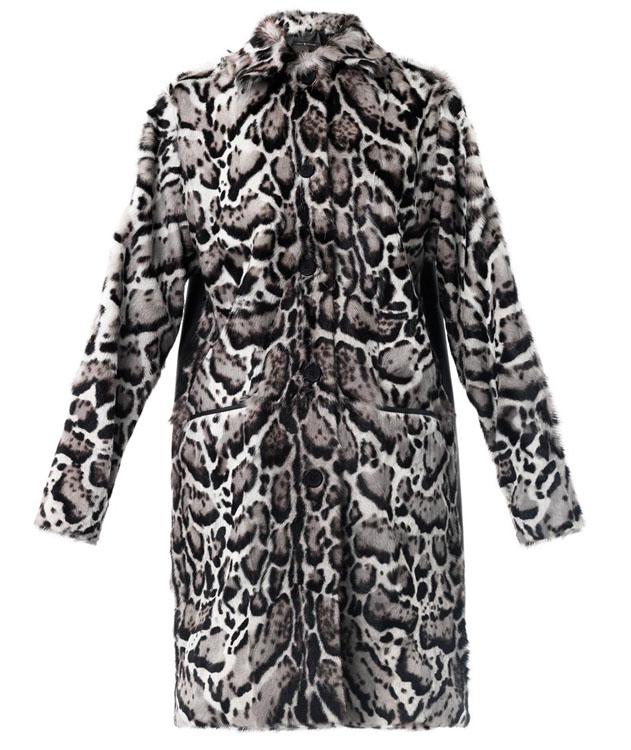 Christopher Kane Jaguar Print Goat Skin Coat