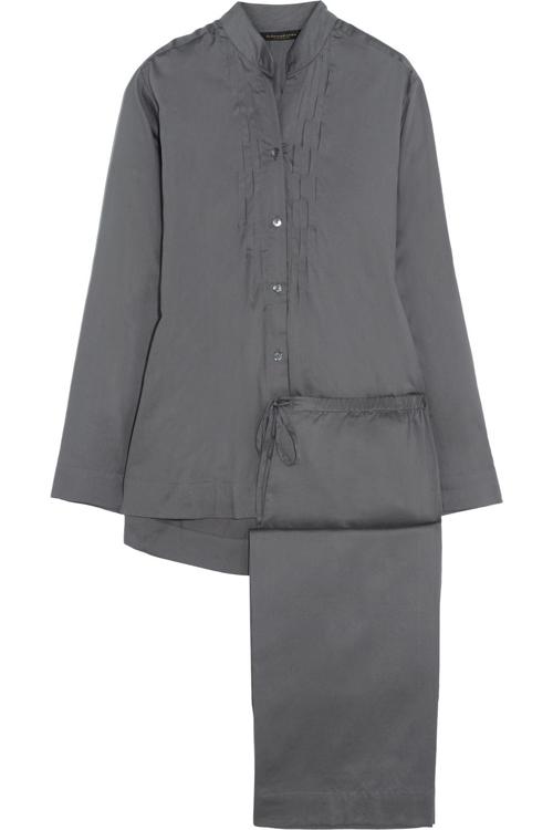 Donna Karan Sleepwear Pintucked Cotton-Sateen Pajama Set