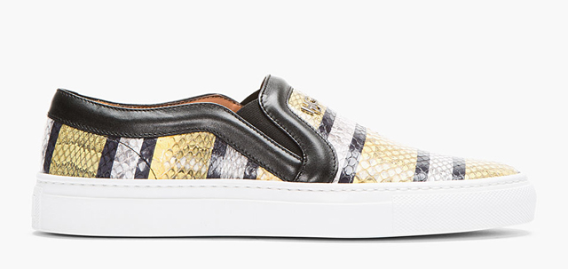 Givenchy Striped Snakeskin Slip-On Sneakers