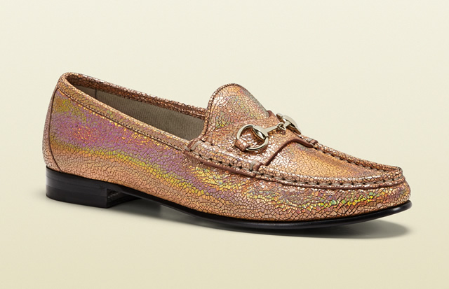 Gucci 1953 Horsebit Loafer in Crackled Metallic Leather