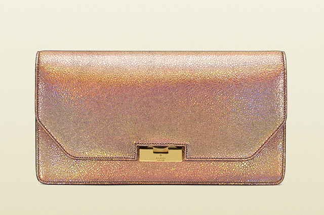 Gucci 58 Cracked Metallic Leather Clutch