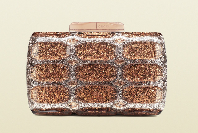 Gucci Aristographic Glittered Plexiglass Evening Clutch