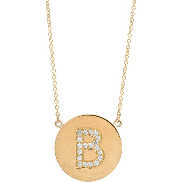 Jennifer Meyer Yellow Gold & Diamond 'B' Pendant Necklace