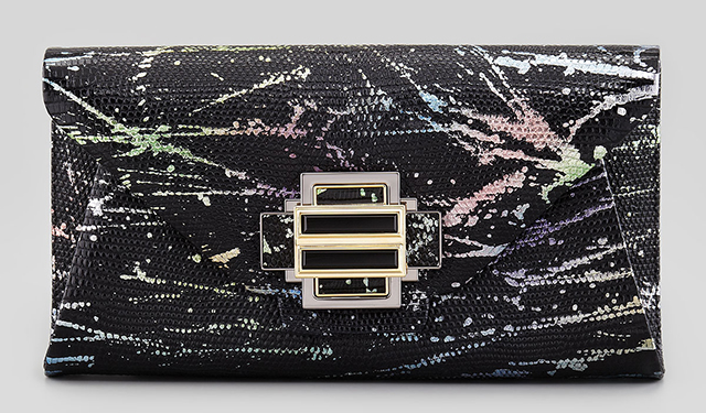 Kara Ross Electra Splatter Lizard Clutch
