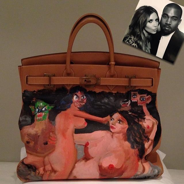Kim Kardashian Hermes HAC Painted