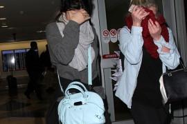 Kylie Jenner carries a blue Balenciaga bag at LAX (5)