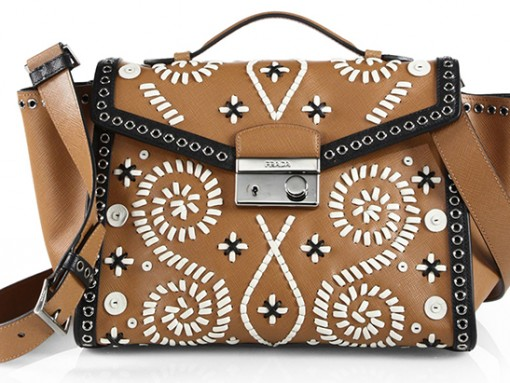 Prada Saffiano Embroidered Shoulder Bag