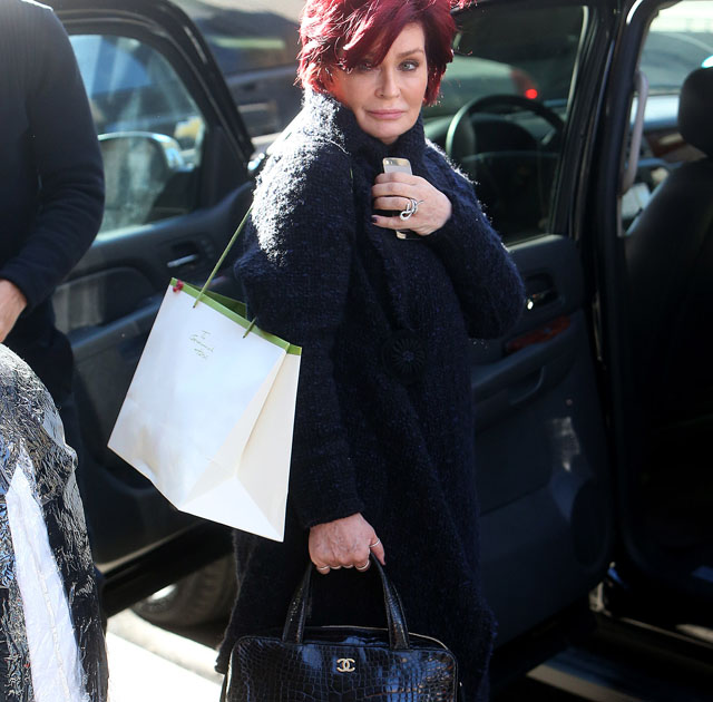 Sharon Osbourne carries a black Chanel alligator bag in NYC (1)