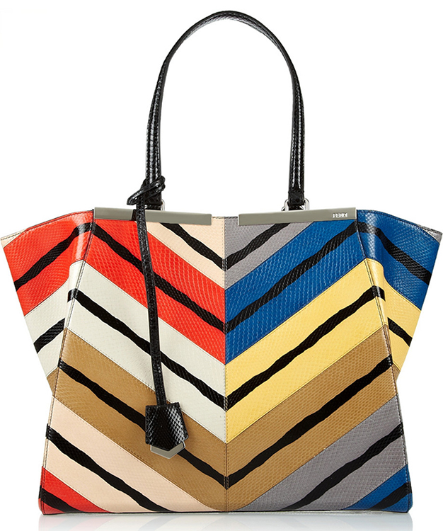 Fendi 3Jours Striped Watersnake Tote
