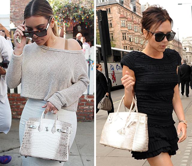 Kim Kardashian Victoria Beckham Himalayan Crocodile Birkin Bag