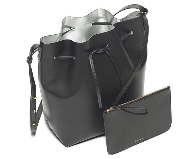 Mansur Gavriel Bucket Bag Black Silver Interior