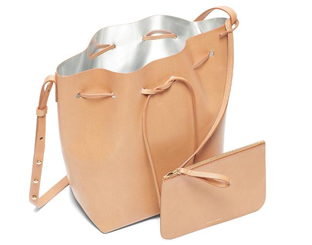 Mansur Gavriel Bucket Bag Cammello Silver Interior
