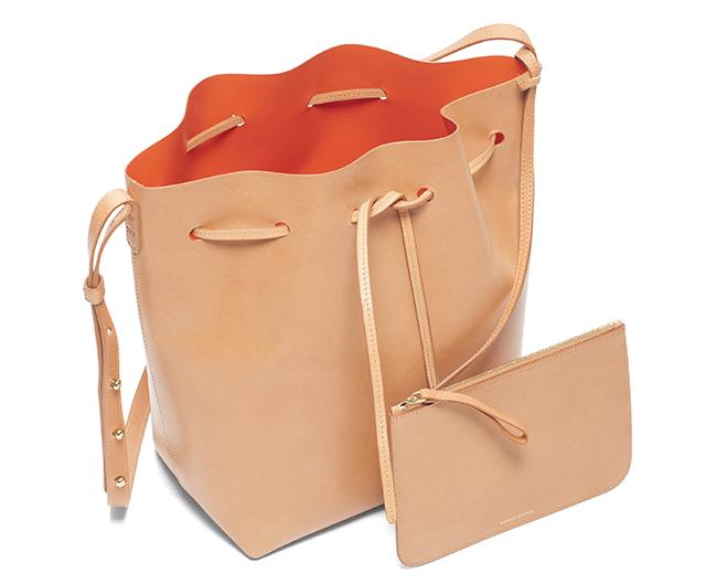 Mansur Gavriel Bucket Bag Cammelloo Orange Interior