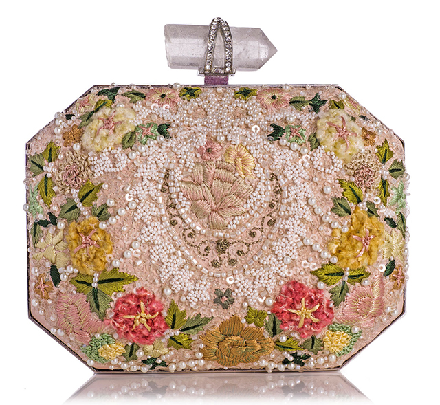 Marchesa Iris Floral Embroidered Clutch