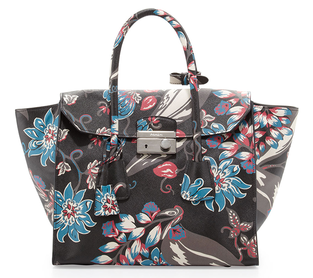 Prada Saffiano Large Floral Twin Pocket Tote