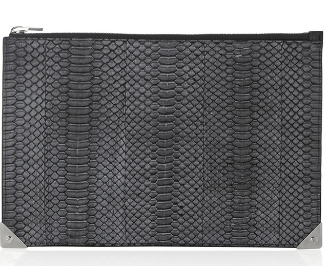 Alexander Wang Prisma Snakeskin and Leather Clutch