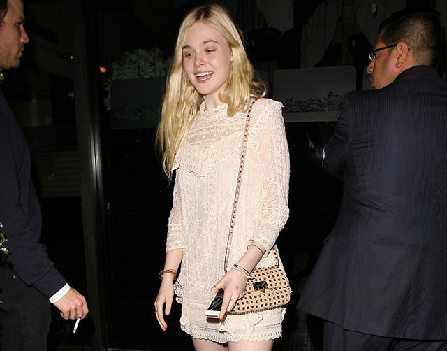 Elle Fanning Valentino Rockstud Mini Crossbody Bag