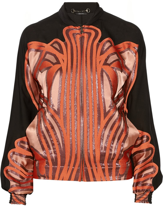 Gucci Silk and Metallic Bomber Jacket
