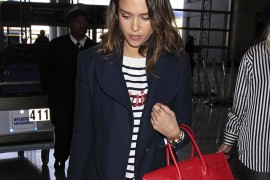 Jessica Alba Travels with a Saint Laurent Bag