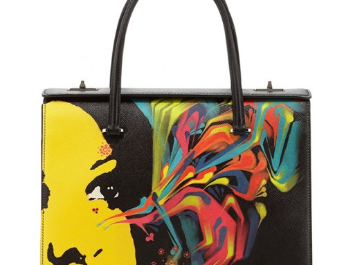 Prada Saffiano Girl Print Bag Black