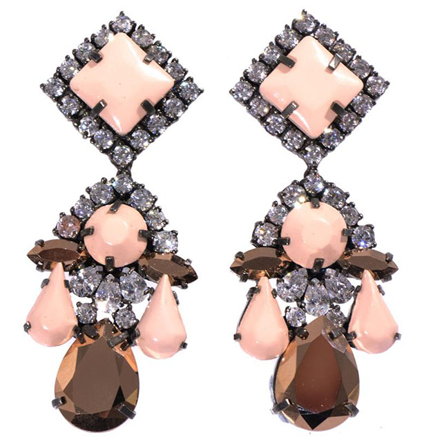 SHOUROUK Square crystal-embellished earrings