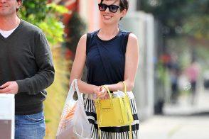 Anne Hathaway Enjoys Sunny LA with a Sunny Balenciaga Bag