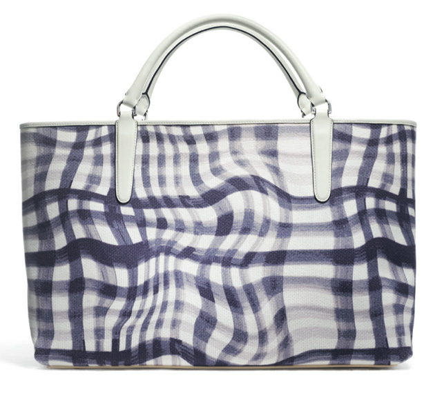 Coach Wavy Gingham East-West Town Tote Navy