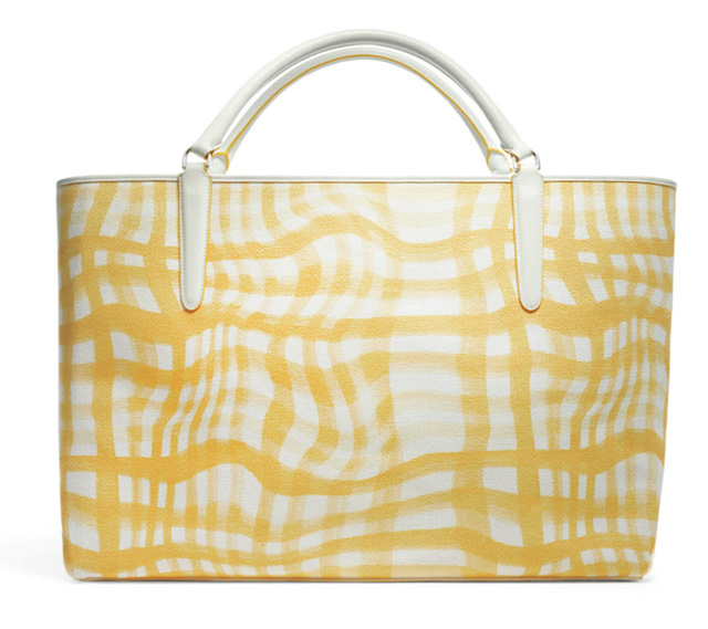 Coach Wavy Gingham East-West Town Tote Yellow