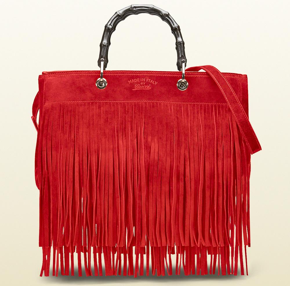 Gucci Bamboo Fringe Shopper Tote