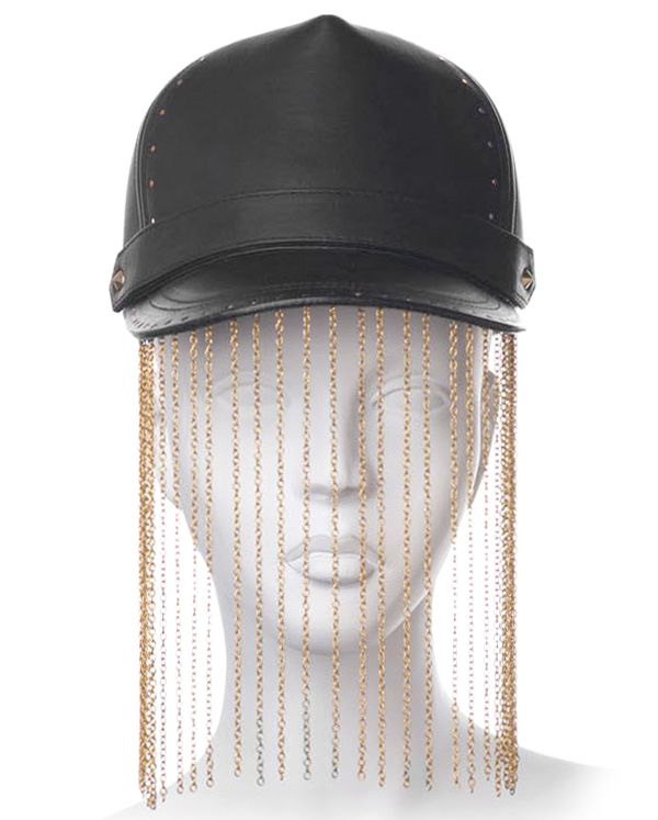 House of Malakai Chain Fringed Leather Cap