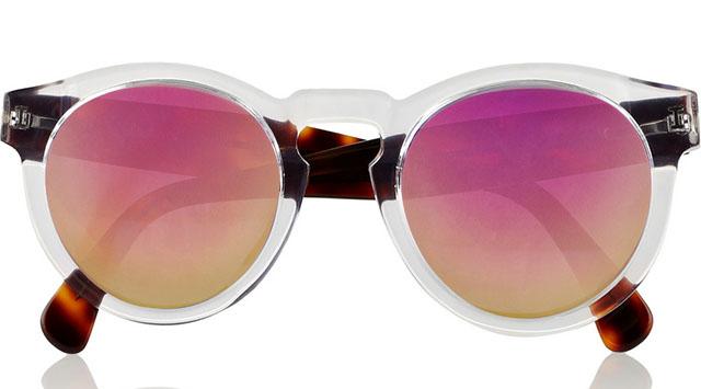 Illesteva Leonard Round Frame Acetate Mirrored Sunglasses