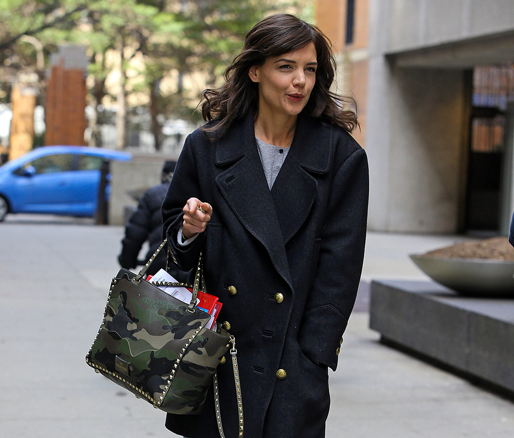 Kate Holmes Valentino Rockstud Camouflage Trapeze Tote