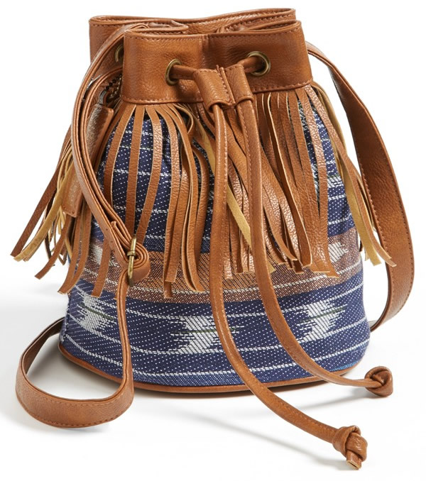 Kendall Kylie Madden Girl Fringed Fabric Bucket Bag