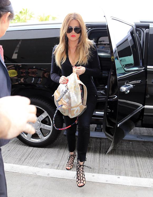 Khloe Kardashian Chanel Graffiti Printed Canvas Backpack-2
