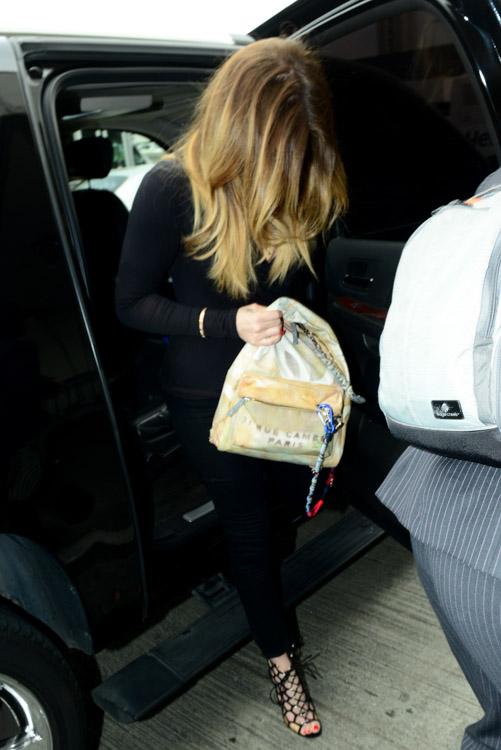 Khloe Kardashian Chanel Graffiti Printed Canvas Backpack-4