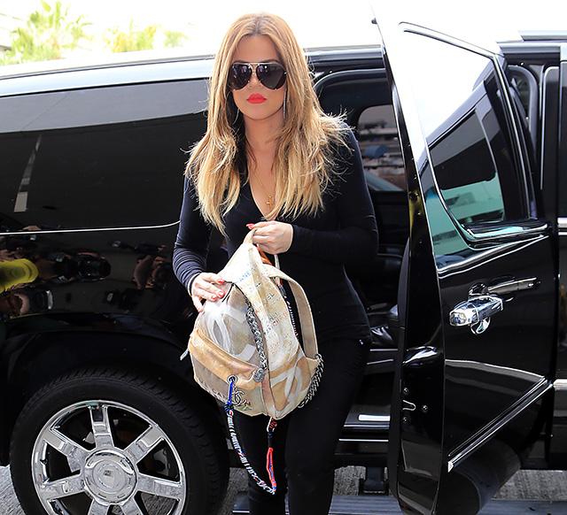 Khloe Kardashian Chanel Graffiti Printed Canvas Backpack