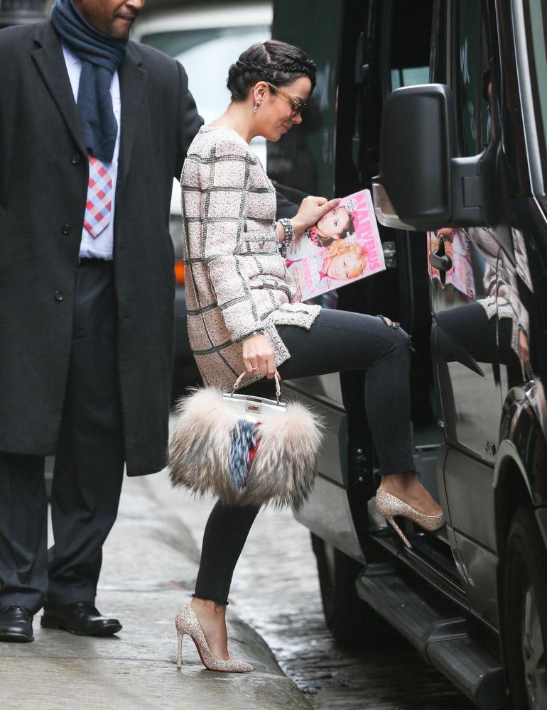 Lily Allen Fendi Fur Peekaboo Bag-1