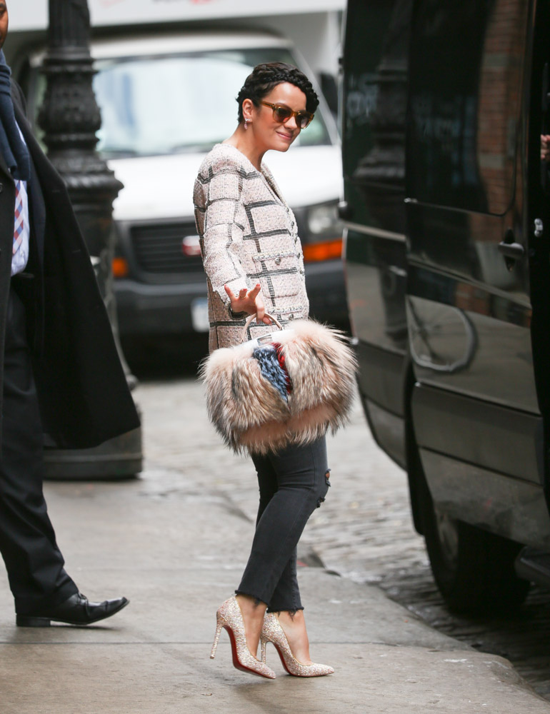 Lily Allen Fendi Fur Peekaboo Bag-2
