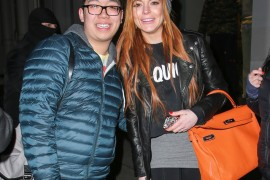 Lindsay Lohan Poses with Fans and an Hermes Kelly